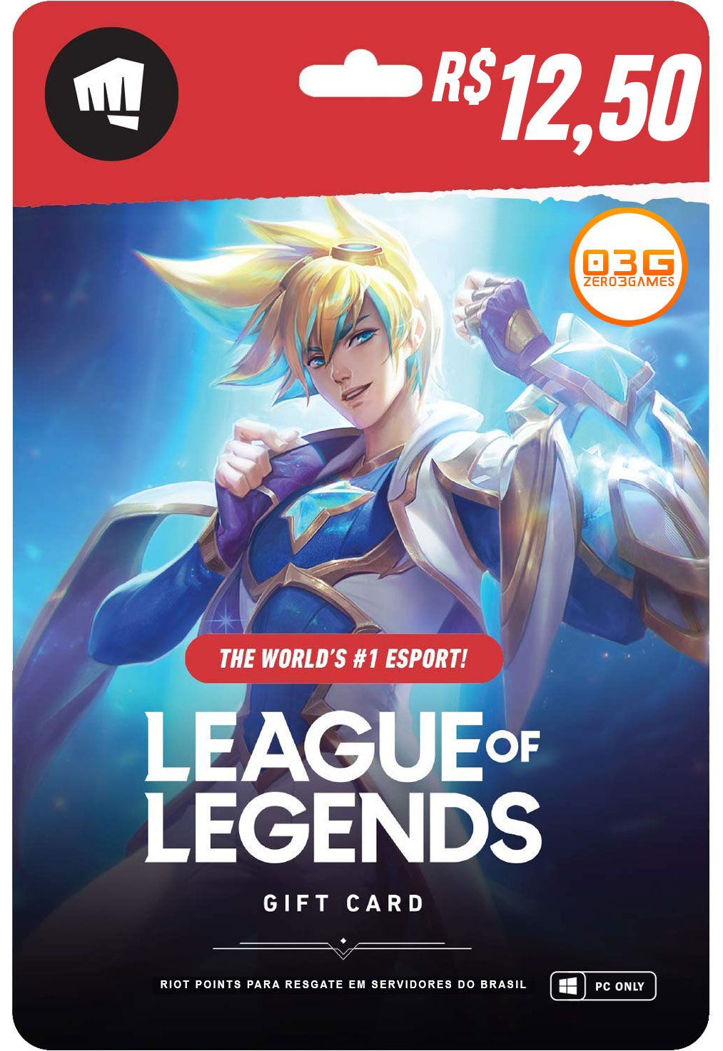 Cartão League of Legends 560 Riot Points