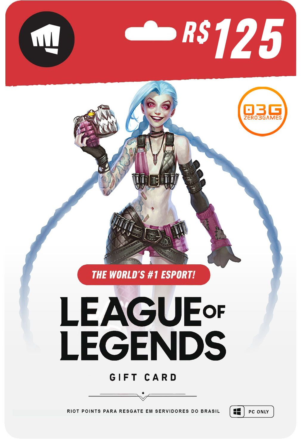 Cartão League of Legends 2380 Riot Points