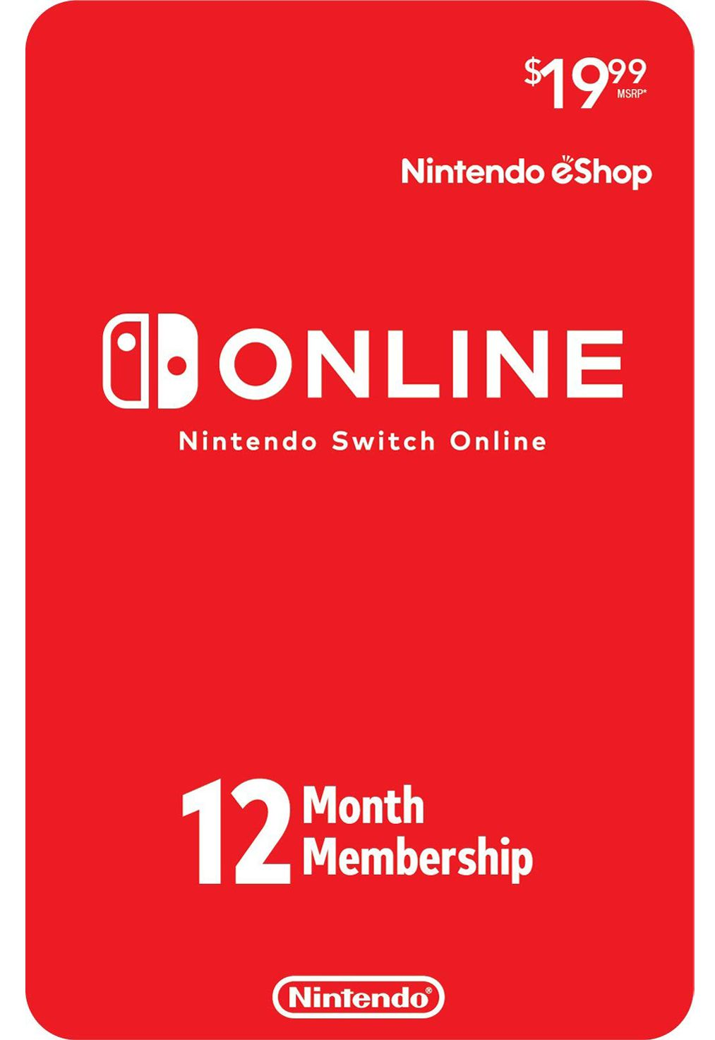 Nintendo Switch Online 12 Meses USA